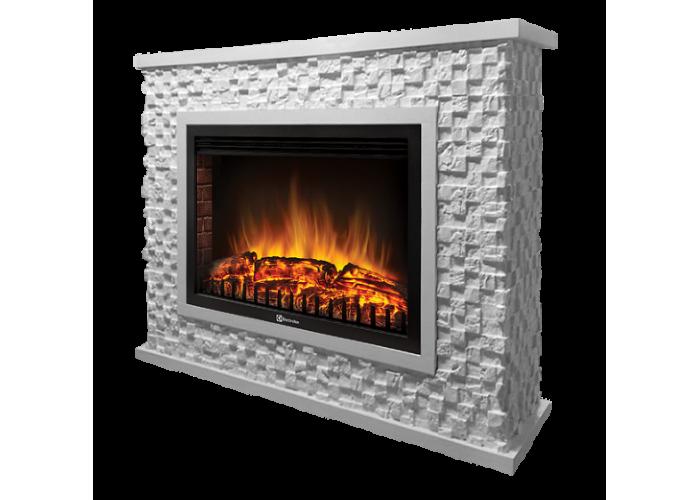 Портал Firelight Quadro 25 камень песчаник античный белый, белая эмаль серии Quadro