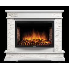 Портал Firelight Scala 25 камень сланец скалистый белый, шпон белый дуб серии Scala